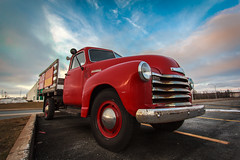 Big Red (bluegreenorange) Tags: red chevrolet truck advertising parkinglot vintagetruck