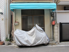 covered motorcycle (Samm Bennett) Tags: japan tokyo wrapped covered shrouded draped