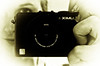 Pocket (Kalyna Harasymiv) Tags: camera portrait white black reflection sepia lumix mirror panasonic fade kalyna