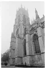 west tower (jj birder) Tags: york blackandwhite bw film fog 35mm yorkshire contax minster aria