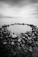The Rock Pool (Matthew Post) Tags: longexposure blackandwhite fish seascape monochrome mono post matthew australia queensland aboriginal 1770 trap indigenous haida fishtrap discoverycoast seventeenseventy matthewpost