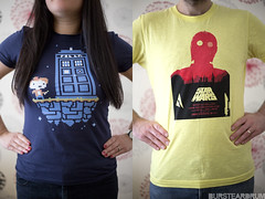Geek T-shirt duo... (bursteardrum) Tags: nerd film fashion canon 50mm starwars clothing diptych comic geek bokeh duo tshirt husband humour clothes doctorwho cult wife sciencefiction drwho cultfilm classicfilm culttelevision fashiontshirt canon5dmkiii 5dmkiii bursteardrum samueldore