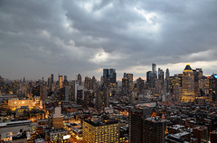 thunderstorm above Manhattan (franbatt) Tags: street nyc newyorkcity sky ny newyork storm rooftop apple brooklyn clouds landscape grey big manhattan awesome thunderstorm storms thunder districts hellskitchen 42nd nework atelier thunders