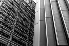 City of London (Andrew Bloomfield Photography) Tags: urban white abstract black lines architecture modern skyscraper buildings design steel pipes angles d800 skywards afsnikkor1635mm andrewbloomfieldphotography wwwandrewbloomfieldphotographycouk
