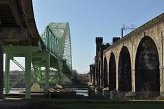 Super Structures (Jim the Joker) Tags: railway rivermersey runcornbridge silverjubileebridge britanniabridge runcornrailwaybridge ethelfledabridge