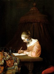 Gerard Ter Borch - Woman Writing a Letter, 1655 (Royal Picture Gallery Mauritshuis The Hague) at Dutch Paintings from Mauritshuis Exhibit at de Young Museum of Fine Arts - San Francisco CA (mbell1975) Tags: california ca portrait woman art netherlands dutch museum writing painting de golden und san francisco gallery museu maurice fine arts young picture royal grand musée calif musee m age letter museo masters maison muzeum gerard mauritshuis finearts ter beauxarts müze sammlung 1655 famsf borch holländischer meisterwerke museumuseum flämischer
