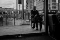 2016_206 (Chilanga Cement) Tags: fuji fujix100t fujixt1 x100t xseries x100s x100 bw blackandwhite monochrome chair man phone peopleshistorymuseum manchester salford