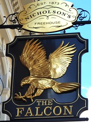 Falcon - Clapham (Draopsnai) Tags: falcoln pub pubsign nicholsons blackandgold bird stjohnshill clapham lambeth