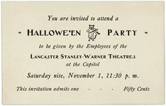 Halloween Party Invitation, Lancaster, Pa. (Alan Mays) Tags: ephemera invitations partyinvitations cards paper printed halloween holidays october31 halloweenparties parties stanleywarner stanleywarnertheatres capitoltheater capitol capitoltheatre theatres theaters movietheaters employees cats animals fiddling fiddles violins music musicians lancaster pa lancastercounty pennsylvania november1 old vintage typefaces type typography fonts
