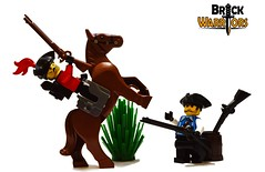 Charge! (BrickWarriors - Ryan) Tags: brickwarriors custom lego minifigure weapons helmets armor tricorn british knapsack colonial pirates horse flintlock musket