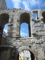 Arles Amphitheatre (AmyEAnderson) Tags: outdoor historic limestone stonework architecture amphitheatre stadium coliseum tourists people arch arches archways bricks sky angles arles france provence bouchesdurhone unesco