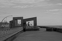 Blackpool South Promenade (Chris Dimond) Tags: 2016 blackpool seafront promenade bw filter art statue mirrorball