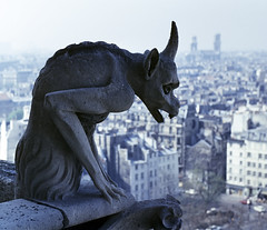 Gargoyle overlooking Paris (chrisdingsdale) Tags: vacation balcony bell building cathedral chimera church city cityscape clouds dame demon europe european france french gargoyle gothic high history icon landmark looking medieval monster mythological notre paris religion religious scary scenic sculpture skyline statue stone texture tourism tourist tower travel urban view vintage watching architecture