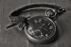 Pocket Watch (Crisp-13) Tags: pocket watch strap numbers face winder black white monochrome
