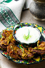 vegetable marrows fritters with joghurt (Zoryanchik) Tags: marrows fritters pancakes food pancake vegetable fried plate fritter vegetarian crispy meal dinner lunch cuisine dish apple cooking onion background recipe snack golden prepared cottage cheese patties