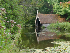 NTJ-34 - Boathouse - Scotney Castle (nigeltjackson52) Tags: boathouse moat water reflections waterlillies green