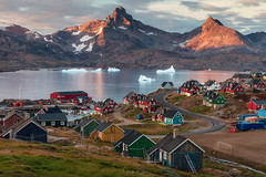 Tasiilaq (Hilton Chen) Tags: icebergs summer ocean eastgreenland colorfulhouses sunset ships fjord town tasiilaq sshapedroad leadingline