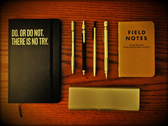 my office essentials (ZSZafar) Tags: moleskine starwars muji whatsinyourbag fieldnotes tombow retro51