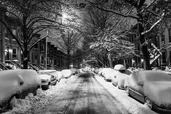 6th Street in the snow - Park Slope, Brooklyn - 2.9.13 (RK NYC) Tags: nyc newyorkcity winter blackandwhite snow brooklyn landscape nemo parkslope bk