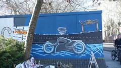 Utility of Space (nine-o art) Tags: streetart painting grid graffiti stencil background portsmouth spraypaint freehand aerosol tron legacy spraycan paintjam hoardings lightcycle recognizer nineo zurichbuilding nine0