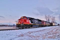 CN M39161 w/ CN 5420 Leading (Cool~Yooper~Dude) Tags: winter snow wyandotte emdsd60 cn2414 gec408m exoakway cnshorelinesub cnm39161 cn5420