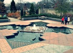 USBG ~ First Ladies Water Garden (karma (Karen)) Tags: trees washingtondc chairs geometry stonework tourists tables fountains bushes usbotanicgarden garedens