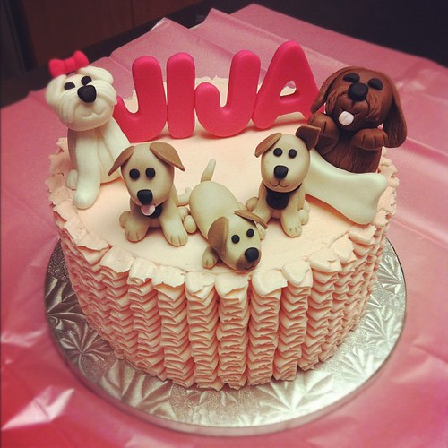 Puppy Themed Birthday Cake