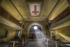 The Red cross  ( explore ) (andre govia.) Tags: red sun abandoned church cross decay chapel urbanexploration trespass rays abondoned ue abandonedbuilding urbex