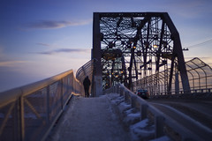 Arlington Bridge (bryanscott) Tags: bridge winter snow building architecture 50mm winnipeg pentax manitoba