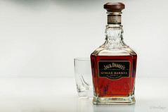 Single Barrel (brian.donegan) Tags: home glass table jack photography bottle nikon dubai top barrel whiskey commercial single daniels product 105mm strobist d300s