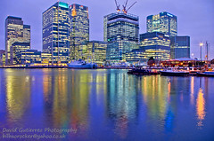 London Reflections (david gutierrez [ www.davidgutierrez.co.uk ]) Tags: uk blue light sky urban colour reflection london art colors skyline architecture night skyscraper photography cityscape docklands canarywharf davidgutierrez pentaxk5
