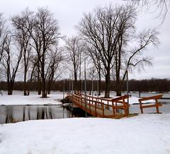 Bridge 1 (Jeanne W Pics) Tags: park bridge snow beach weather minnesota midwest branch branches mississippiriver twincities iph