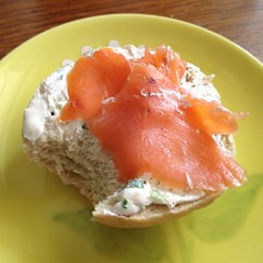 Homemade bagels and store bought lox for breakfast. And soy cream cheese.