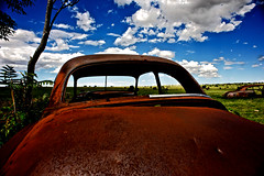Vintage (C.Preston Roberts) Tags: old sky cloud color colour abandoned car contrast vintage rustico time decay horizon rustic age saturation aged crumble dying destroy corrode deteriorate eataway