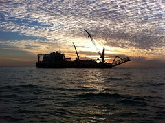 Sunset and a Pipe laying Vessel, Persian Gulf