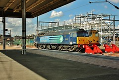 DRS Class 47 No. 47853 Stabled at York - 3rd April 2013. (allan5819 (Allan McKever)) Tags: york uk travel blue england station train construction diesel yorkshire transport traction platform engine rail railway loco brush locomotive siding drs class47 type4 class20 47853 stabled