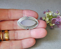 Druzy navette brooch in sterling with 14kt gold (betsy.bensen) Tags: brooch fabricated sterlingsilver navette 14ktgold druzyquartz baw5214