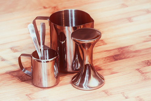 art kitchen coffee metal reflections milk drink steel tools jug espresso latte barista utilities tabletop stainless spoons tamper frother