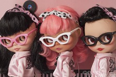 Three  pinky beauties. (Cherryta) Tags: pink ladies sky up vintage hair glasses pin factory heather retro cape oh blythe 50s takara melina adg kozy brumettes