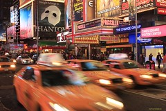 Night Traffic (Fotis Korkokios) Tags: newyorkcity urban usa newyork yellow night digital canon eos lights manhattan taxi broadway musical busy timessquare citylights urbanlandscape theaterdistrict fostis rebelxsi