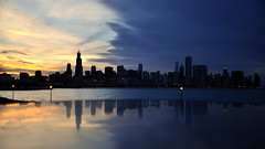 Sundown in Chitown (Seth Oliver Photographic Art) Tags: chicago clouds landscapes iso200 illinois nikon midwest skyscrapers searstower cities silhouettes cityscapes sunsets lakemichigan trumptower southloop pinoy downtownchicago johnhancockbuilding chicagoskyline urbanscapes secondcity adlerplanetarium windycity chicagoist d90 cityofchicago cityofbigshoulders aperturef45 10stopndfilter manualmodeexposure willistower setholiver1 18105mmnikorlens 1100secondexposure camerasetdownonsolidsurface