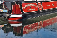 Away from home. (dlanor smada) Tags: uk red england water reflections canals gb grandunion narrowboats hooknortonbrewery