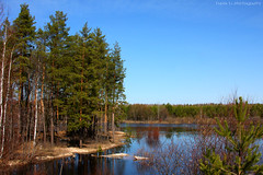 Kerzhenets River (gráce) Tags: trees sky ice forest river landscape spring shores riverscape