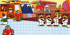 Another train (metahatem) Tags: windows news hat station train gum toy toys happy team eyes waiting order phone candy puppet good seat clown balloon bad tracks police flags crime chewing guns giraffe bags muppet porter officer tense suitcases invistigate