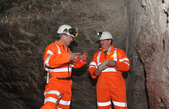 Minister Wilson with Jason Hopps, Mine Surveyor in Carrick Salt Mine (Northern Ireland Executive) Tags: saltmine finance financeminister carrickfergus dfp kilroot sammywilson centralprocurementdirectorate