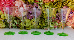 Vintage Tiffin Wine Glasses Optic Needle Etched Green Vaseline (Donna's Collectables) Tags: vintage tiffin wine glasses optic needle etched green vaseline