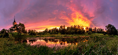 The Mariental sunset (A. Stavrovich) Tags: 2016 canon lakes summer sunset trees mariental fortress sunshine sunrays sun clouds sky pavlovsk bip reflections pond grass water panorama hdr panoramic scenery park