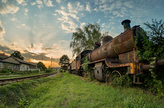 Old Train Being Slowly Reclaimed by the Nature (bancika) Tags: train old steam engine autofocus nis serbia rust sunset fisheye