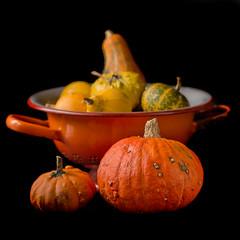 Een vergiet vol!    ....Explore! (Geziena) Tags: vergiet kalebas pompoen nikon d7100 90mm tamron oranje herfst warme kleuren
