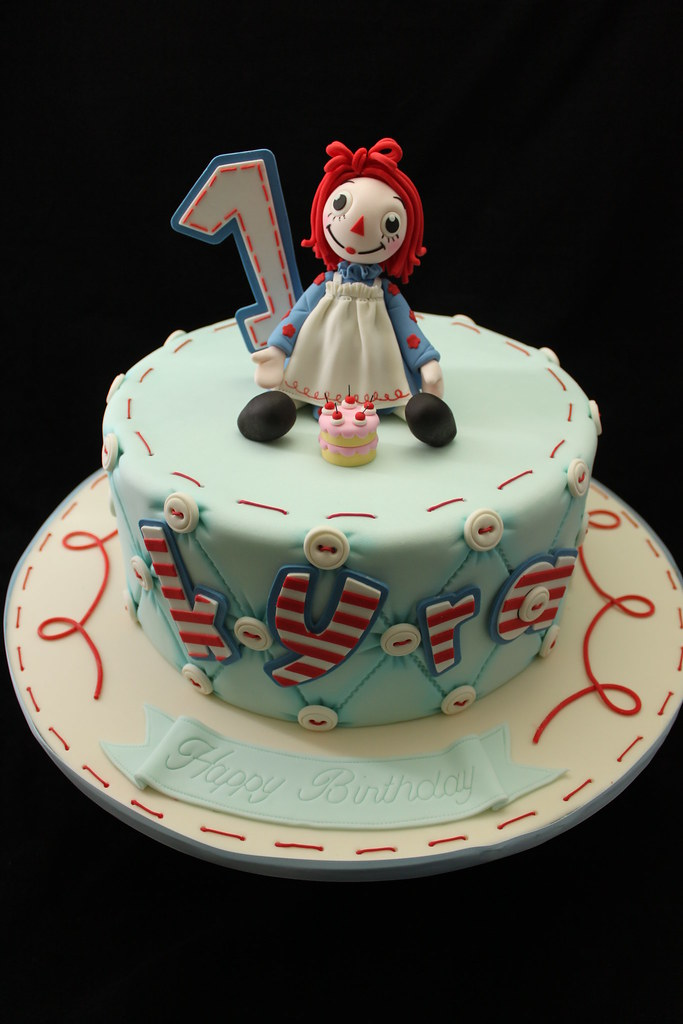 Raggedy Ann Cake Andreas SweetCakes Tags Blue Red Buttons Stripes Ragdoll